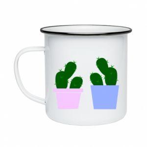 Enameled mug Two large cacti