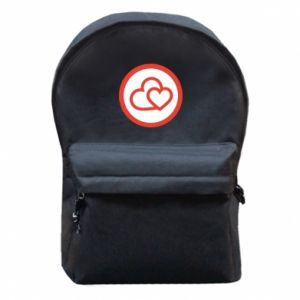 Backpack with front pocket Two hearts