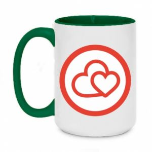 Two-toned mug 450ml Two hearts