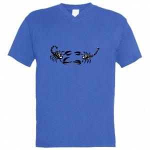 Men's V-neck t-shirt Two scorpions