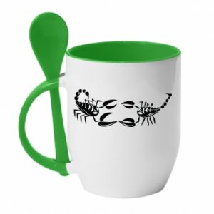 Mug with ceramic spoon Two scorpions