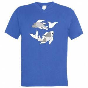 Męska koszulka V-neck Dwie duże ryby