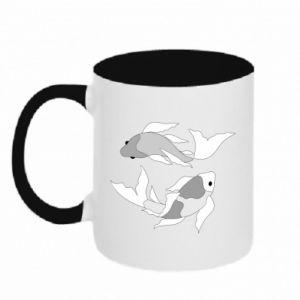 Two-toned mug Two big fish