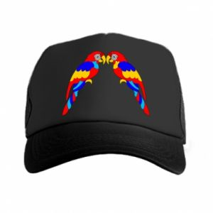 Trucker hat Two bright parrots