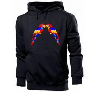 Men's hoodie Two bright parrots
