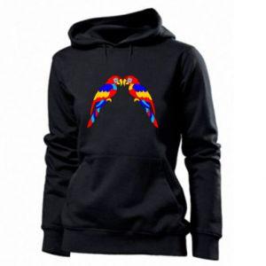 Women's hoodies Two bright parrots