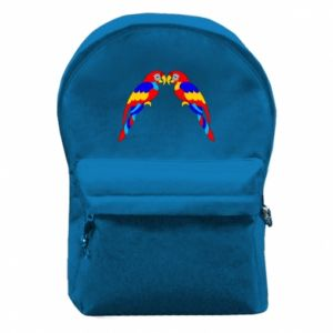 Backpack with front pocket Two bright parrots