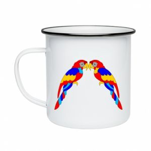 Enameled mug Two bright parrots