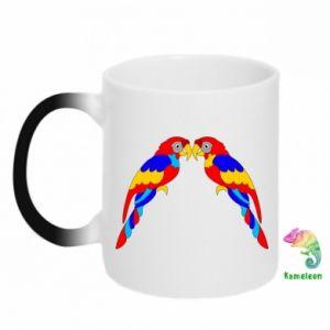Chameleon mugs Two bright parrots