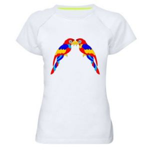 Women's sports t-shirt Two bright parrots