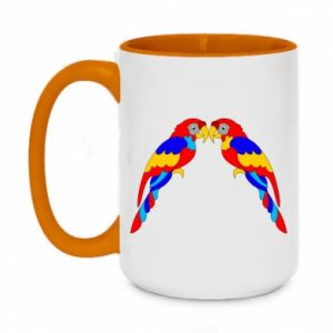 Two-toned mug 450ml Two bright parrots