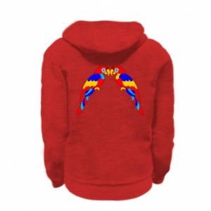 Kid's zipped hoodie % print% Two bright parrots