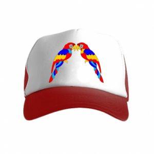 Kid's Trucker Hat Two bright parrots