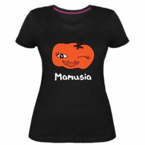 Damska premium koszulka Dynia. Mamusia - PrintSalon