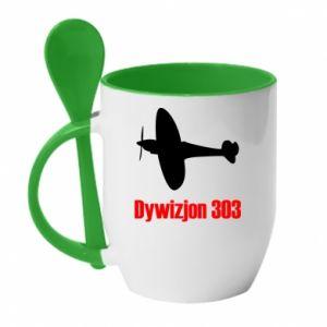 Mug with ceramic spoon Division 303 - PrintSalon