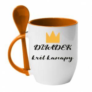 Kubek z ceramiczną łyżeczką Dziadek król kanapy