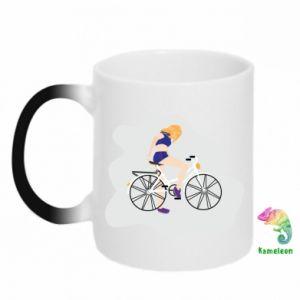 Kubek-kameleon Dziewczyna na rowerze