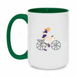Kubek dwukolorowy 450ml Dziewczyna na rowerze