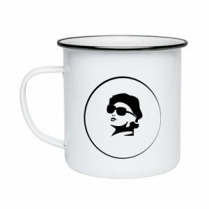 Enameled mug Girl in glasses