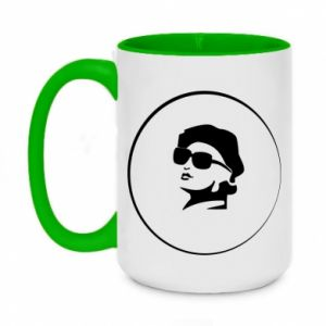 Two-toned mug 450ml Girl in glasses