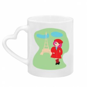 Mug with heart shaped handle Girl in Paris