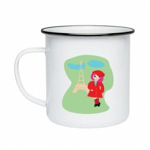 Enameled mug Girl in Paris - PrintSalon
