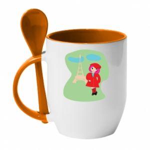 Mug with ceramic spoon Girl in Paris - PrintSalon