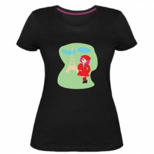 Women's premium t-shirt Girl in Paris - PrintSalon