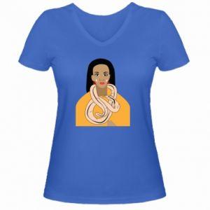 Damska koszulka V-neck Dziewczyna z wężem - PrintSalon
