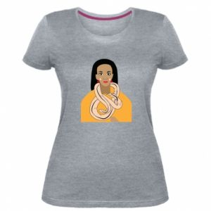 Damska premium koszulka Dziewczyna z wężem - PrintSalon