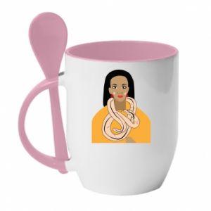 Kubek z ceramiczną łyżeczką Dziewczyna z wężem - PrintSalon