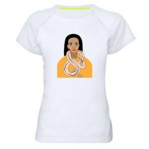 Damska koszulka sportowa Dziewczyna z wężem - PrintSalon