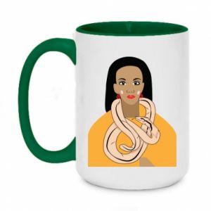 Two-toned mug 450ml Girl with a snake