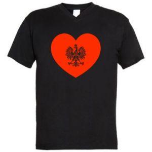 Męska koszulka V-neck Eagle in the heart