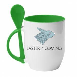 Kubek z ceramiczną łyżeczką Easter is coming