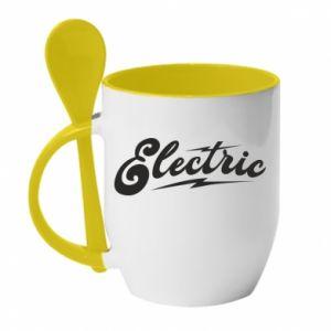 Kubek z ceramiczną łyżeczką Electric