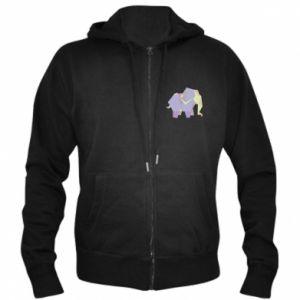 Men's zip up hoodie Elephant abstraction - PrintSalon