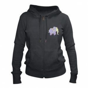 Women's zip up hoodies Elephant abstraction - PrintSalon
