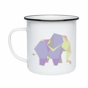 Enameled mug Elephant abstraction - PrintSalon