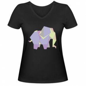 Women's V-neck t-shirt Elephant abstraction - PrintSalon