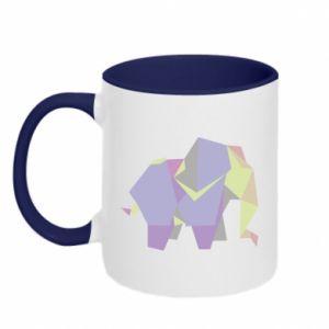 Two-toned mug Elephant abstraction - PrintSalon