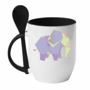 Kubek z ceramiczną łyżeczką Elephant abstraction