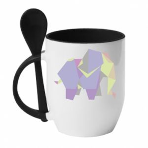 Mug with ceramic spoon Elephant abstraction - PrintSalon