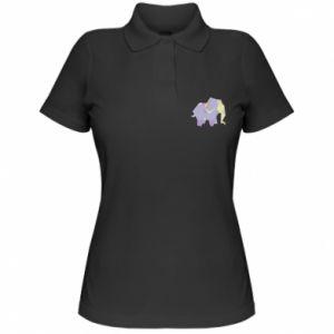 Women's Polo shirt Elephant abstraction - PrintSalon
