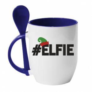 Kubek z ceramiczną łyżeczką #elfie