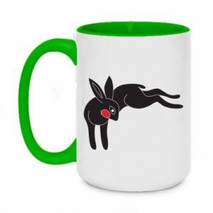 Two-toned mug 450ml Embarrassed black bunny