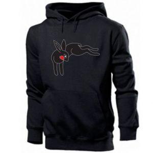 Męska bluza z kapturem Embarrassed black bunny