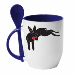 Mug with ceramic spoon Embarrassed black bunny