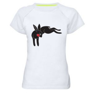 Women's sports t-shirt Embarrassed black bunny
