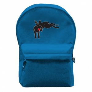 Backpack with front pocket Embarrassed black bunny - PrintSalon